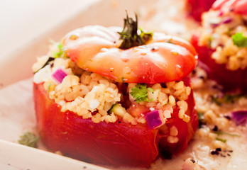 Delicious oven baked stuffed tomatoes