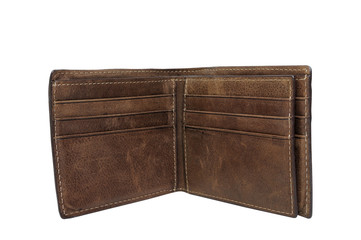Men leather wallet on white background, clipping path