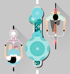 People riding a bicycle on street top view vector
