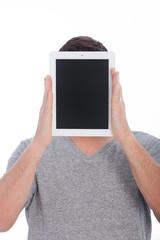Nerd peeking from behind a blackboard