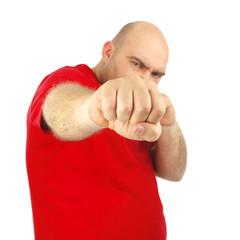 Close up portrait of a aggressive man