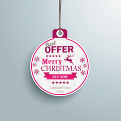 White Christmas Bauble Price Sticker