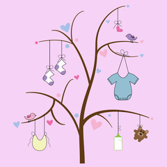 Baby Items Hanging on Tree