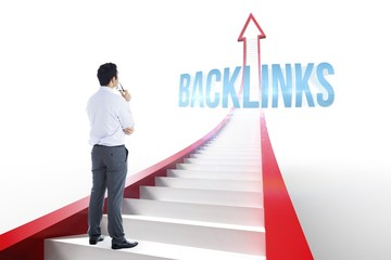 Backlinks against red arrow with steps graphic