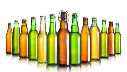 Set of beer bottles without labels isolated on white