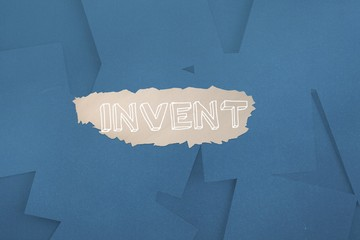 Invent against digitally generated blue paper strewn