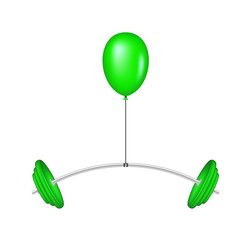 Green balloon lifting a heavy barbell