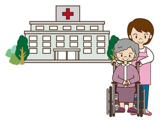病院へ付き添うヘルパー