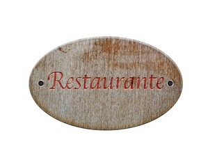 Wooden sign of restaurant..