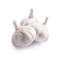 Garlic bulbs isolated on white background