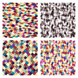 Set of geometric tiles with colored  rhombus. seamless pattern.