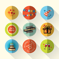 Birthday flat icon set