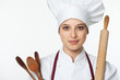 Chef woman with cooking tools