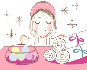 女性とアロマのイメージ ピンク