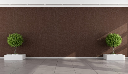 Empty room with stucco wall brown
