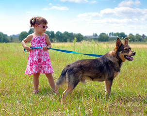 Little girl walking with dog on leash in the meadow