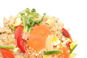 stir fried vermicelli with beaten egg on white background