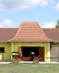 horse drawn carriage on farm