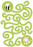 Fototapety bee, flowers, maze for kids- vector illustration