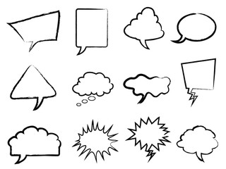 Speech bubbles outline set