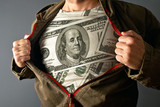 Man wearing dollar shirt - Fine Art prints