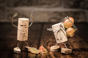 Figuren aus Korken, Konzept Ärger bei der Arbeit
