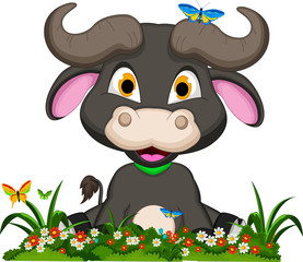 buffalo cartoon with flowers garden