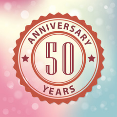 50 Years Anniversary-Retro seal, with colorful bokeh background