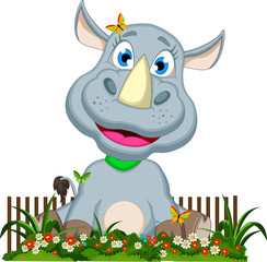 cute rhino cartoon sitting on flower garden