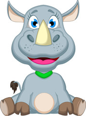 cute rhino cartoon sitting