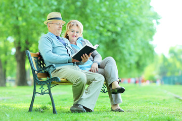 Elderly people reading a book seated in park