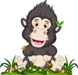 gorilla cartoon sitting on flowers garden