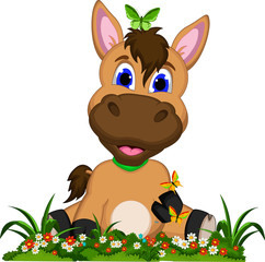 Cute cartoon horse on flower garden