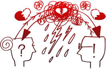 Man and woman profiles: couple misunderstood