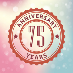 75 Years Anniversary-Retro seal, with colorful bokeh background