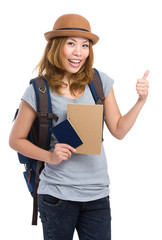 Asia woman backpacker holding passport and thumb up