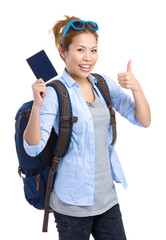 Woman tourist traveler holding passport