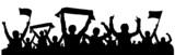 Fototapety Silhouette Fans mit Fahnen und Schals