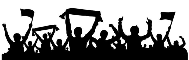 Silhouette Fans mit Fahnen und Schals