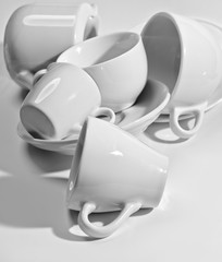 white cups - bw picture