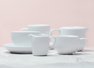 different white cups
