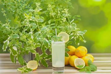 Zitronenlimonade und Zitronen mit Dekoration