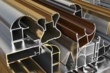Closeup aluminum profiles. industrial illustration