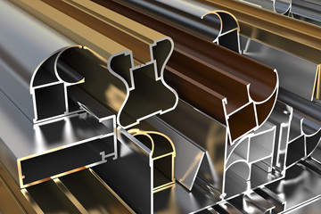 Closeup aluminum profiles. industrial illustration