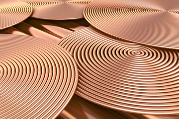 Copper pipes background. 3d illustration