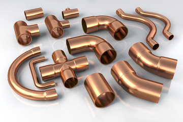 Different Copper pipes.  3d illustration