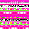 Zebra print hearts, flowers and dots seamless background