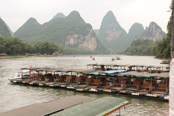 Boat station on Yulong river, Yangshuo