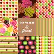 Seamless retro background  set of floral geometric patterns