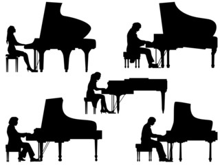 Silhouettes pianist at the piano.
